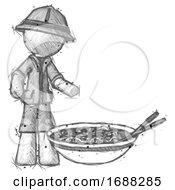 Sketch Explorer Ranger Man And Noodle Bowl Giant Soup Restaraunt Concept