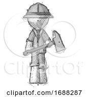 Sketch Explorer Ranger Man Holding Fire FighterS Ax
