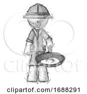 Poster, Art Print Of Sketch Explorer Ranger Man Frying Egg In Pan Or Wok