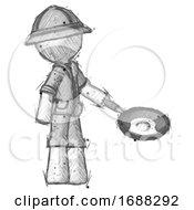 Sketch Explorer Ranger Man Frying Egg In Pan Or Wok Facing Right