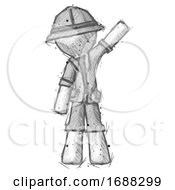 Sketch Explorer Ranger Man Waving Emphatically With Left Arm