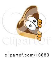 Clipart Picture Of A Meat Beef Steak Mascot Cartoon Character Looking Around A Corner