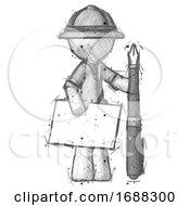 Sketch Explorer Ranger Man Holding Large Envelope And Calligraphy Pen