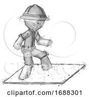 Sketch Explorer Ranger Man On Postage Envelope Surfing