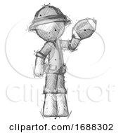 Sketch Explorer Ranger Man Holding Football Up