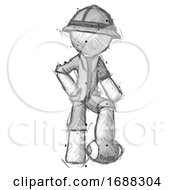 Sketch Explorer Ranger Man Standing With Foot On Football