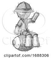 Sketch Explorer Ranger Man Sitting On Giant Football