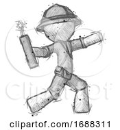 Poster, Art Print Of Sketch Explorer Ranger Man Throwing Dynamite