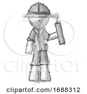 Poster, Art Print Of Sketch Explorer Ranger Man Holding Dynamite With Fuse Lit
