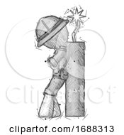 Poster, Art Print Of Sketch Explorer Ranger Man Leaning Against Dynimate Large Stick Ready To Blow
