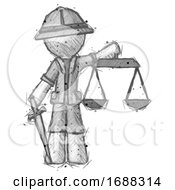 Poster, Art Print Of Sketch Explorer Ranger Man Justice Concept With Scales And Sword Justicia Derived