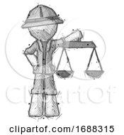 Poster, Art Print Of Sketch Explorer Ranger Man Holding Scales Of Justice