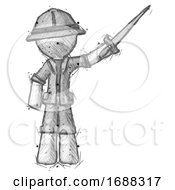 Sketch Explorer Ranger Man Holding Sword In The Air Victoriously
