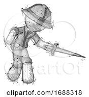 Sketch Explorer Ranger Man Sword Pose Stabbing Or Jabbing
