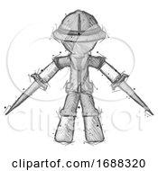 Sketch Explorer Ranger Man Two Sword Defense Pose