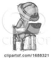 Sketch Explorer Ranger Man Using Laptop Computer While Sitting In Chair Angled Right