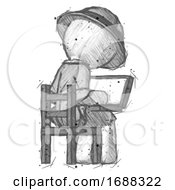 Sketch Explorer Ranger Man Using Laptop Computer While Sitting In Chair View From Back
