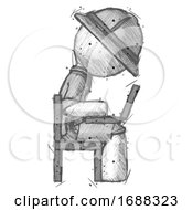 Sketch Explorer Ranger Man Using Laptop Computer While Sitting In Chair View From Side