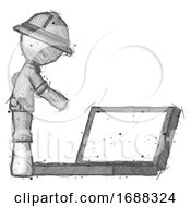 Sketch Explorer Ranger Man Using Large Laptop Computer Side Orthographic View