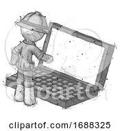 Sketch Explorer Ranger Man Using Large Laptop Computer