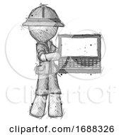 Sketch Explorer Ranger Man Holding Laptop Computer Presenting Something On Screen