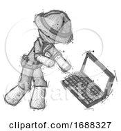 Sketch Explorer Ranger Man Throwing Laptop Computer In Frustration