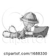 Sketch Explorer Ranger Man Using Laptop Computer While Lying On Floor Side Angled View