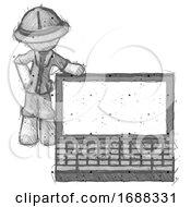 Sketch Explorer Ranger Man Beside Large Laptop Computer Leaning Against It