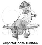 Sketch Explorer Ranger Man In Geebee Stunt Plane Descending Front Angle View
