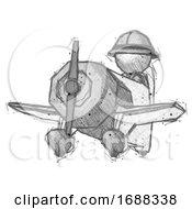Sketch Explorer Ranger Man Flying In Geebee Stunt Plane Viewed From Below