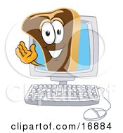 Clipart Picture Of A Meat Beef Steak Mascot Cartoon Character Waving From Inside A Computer Screen by Toons4Biz