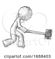 Sketch Design Mascot Man Hitting With Sledgehammer Or Smashing Something