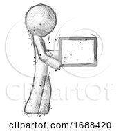 Sketch Design Mascot Man Show Tablet Device Computer To Viewer Blank Area