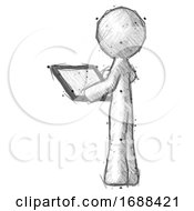Sketch Design Mascot Man Looking At Tablet Device Computer With Back To Viewer
