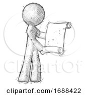 Sketch Design Mascot Man Holding Blueprints Or Scroll