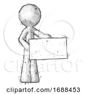Sketch Design Mascot Man Presenting Large Envelope