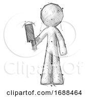Poster, Art Print Of Sketch Design Mascot Man Holding Meat Cleaver