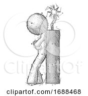 Poster, Art Print Of Sketch Design Mascot Man Leaning Against Dynimate Large Stick Ready To Blow