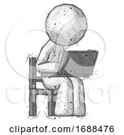 Sketch Design Mascot Man Using Laptop Computer While Sitting In Chair Angled Right