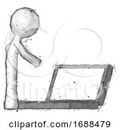 Sketch Design Mascot Man Using Large Laptop Computer Side Orthographic View