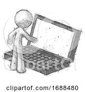 Sketch Design Mascot Man Using Large Laptop Computer