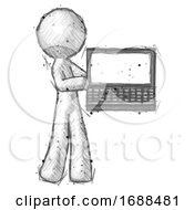 Sketch Design Mascot Man Holding Laptop Computer Presenting Something On Screen