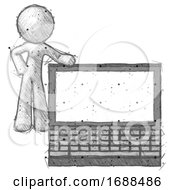 Sketch Design Mascot Man Beside Large Laptop Computer Leaning Against It