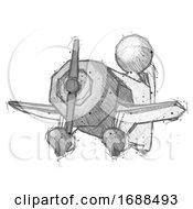 Sketch Design Mascot Man Flying In Geebee Stunt Plane Viewed From Below