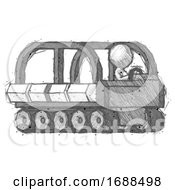 Sketch Design Mascot Man Driving Amphibious Tracked Vehicle Side Angle View
