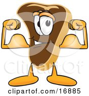 Meat Beef Steak Mascot Cartoon Character Flexing His Strong Arm Muscles