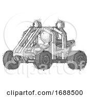 Sketch Design Mascot Man Riding Sports Buggy Side Angle View