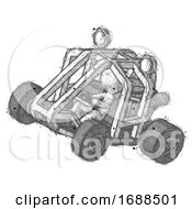 Sketch Design Mascot Man Riding Sports Buggy Side Top Angle View