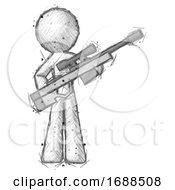Sketch Design Mascot Man Holding Sniper Rifle Gun