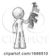 Sketch Design Mascot Man Holding Tommygun